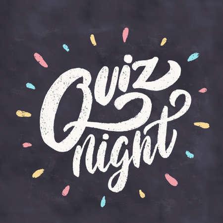 Quiz night. Chalkboard sign.  イラスト・ベクター素材