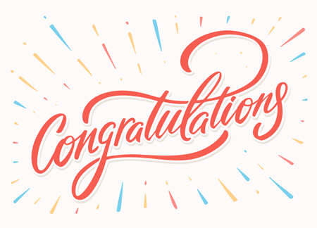 Congratulations. Greeting card. Vector lettering. Çizim