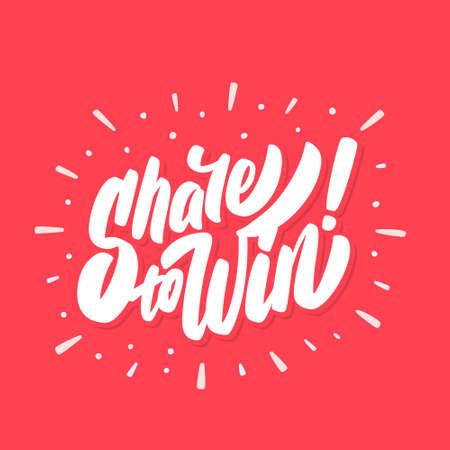 Share to win. Vector banner. Çizim