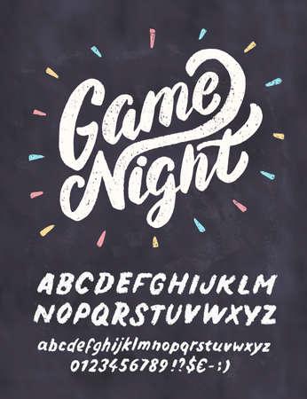 Game night chalkboard sign. Çizim