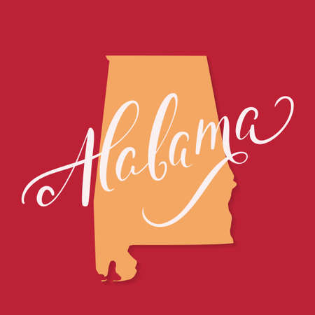 Alabama state. Lettering and vector map.