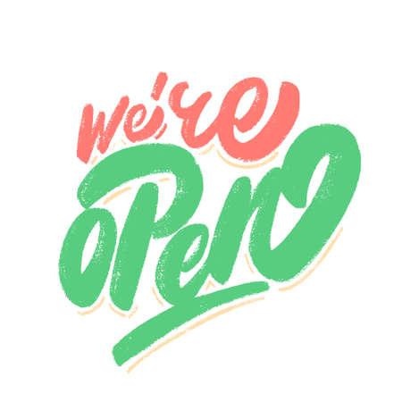 Were open. Vector sign.