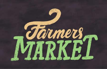 Farmers market. Chalkboard vector sign. Çizim