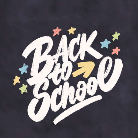 Back to school. Vector lettering sign. 스톡 콘텐츠 - 151094619