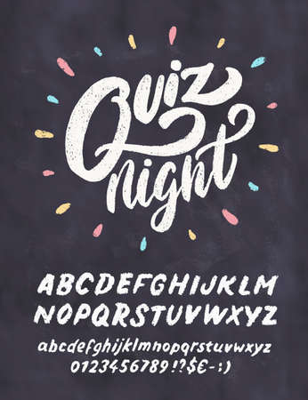 Quiz night. Vector lettering chalkboard sign. 일러스트