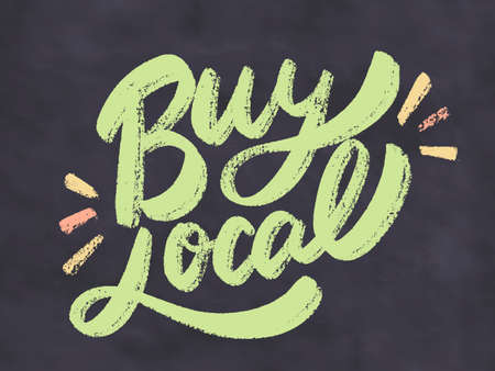 Buy local. Vector lettering.