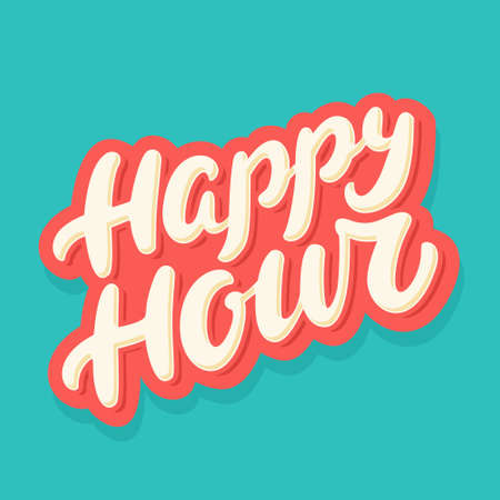 Happy hour sign. Vector hand drawn illustration.