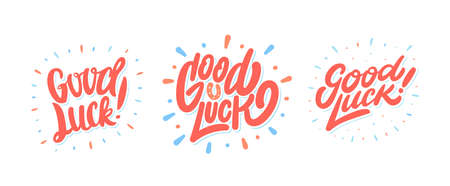 Good luck. Farewell text. Vector lettering set.