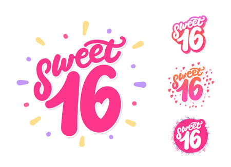 Sweet 16. Set of vector lettering. 일러스트