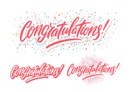Congratulations. Greetings set. Vector lettering. Иллюстрация