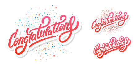 Congratulations. Greetings set. Vector lettering. 矢量图像