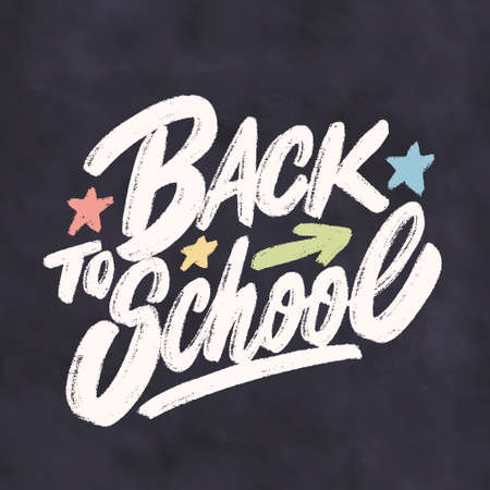 Back to school. Vector lettering sign. 일러스트