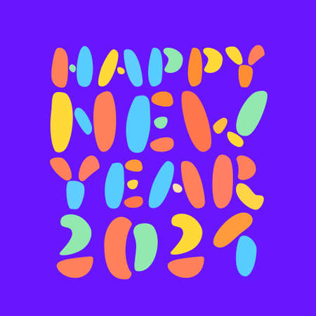 Happy New Year 2021. Greeting card. Vector lettering.