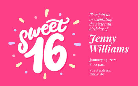 Sweet 16. Vector lettering invitation.