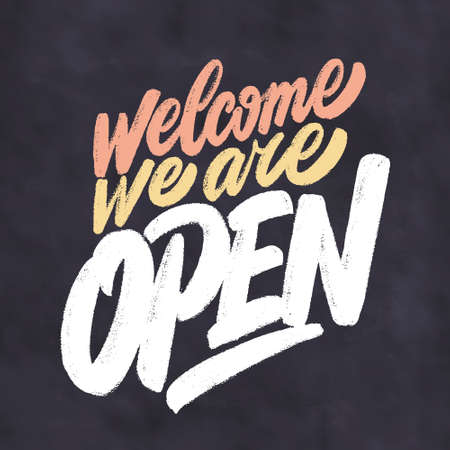 Welcome, we are open. Chalkboard sign. 일러스트
