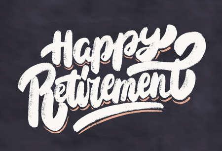 Happy retirement. Chalkboard vector banner. 일러스트