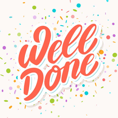 Well done. Vector lettering card. 일러스트