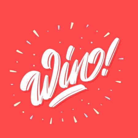 Win. Vector lettering banner.
