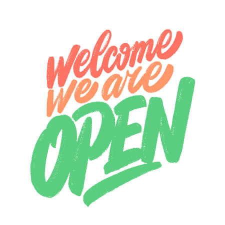 Welcome, we are open. Vector sign. 일러스트