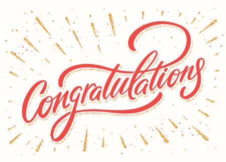Congratulations. Vector hand drawn lettering banner.