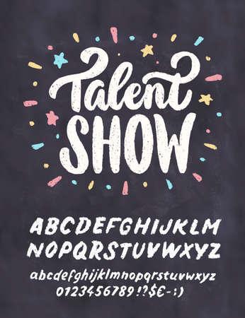 Talent show. Vector chalkboard sign. 일러스트