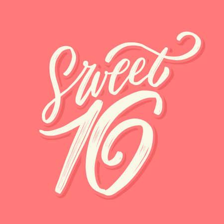 Sweet 16. Vector lettering birthday banner.