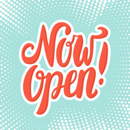 Now open. Vector lettering icon.