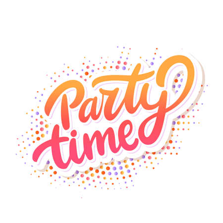 Party time. Vector lettering banner.