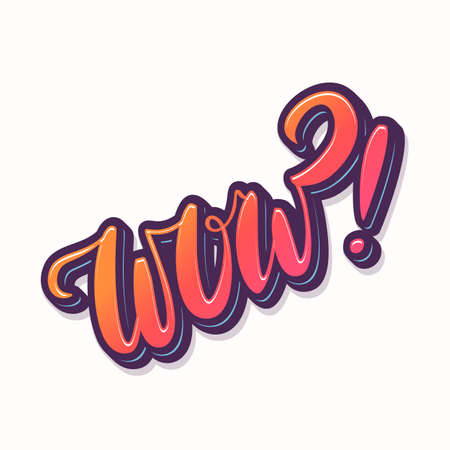 Wow. Vector hand lettering icon.