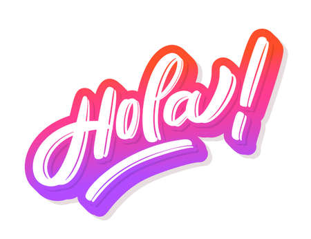 Hola. Vector hand drawn lettering banner.