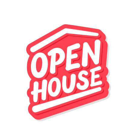 Open house. Vector lettering sign.