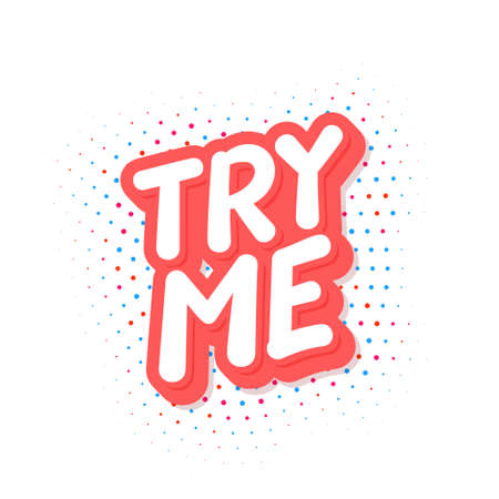 Try me. Vector lettering icon.