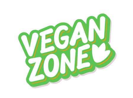 Vegan zone. Vector lettering icon.