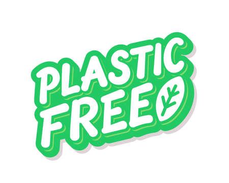 Plastic free. Vector lettering icon.