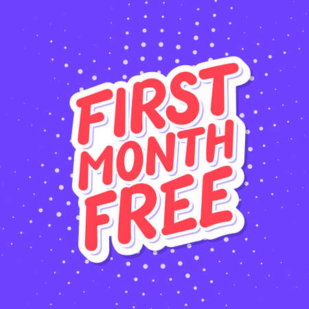 Free month free. Vector lettering banner.