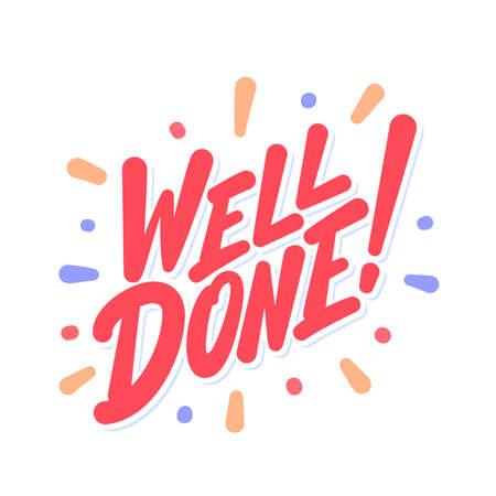 Well done. Vector lettering card. Иллюстрация