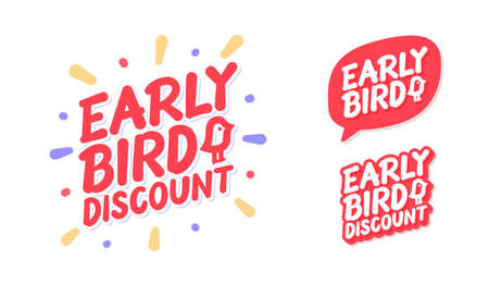 Early bird discount. Vector lettering icons set.