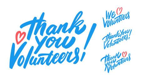 Thank you, volunteers. We love volunteers. Vector lettering set.