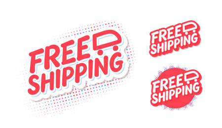 Free shipping. Vector lettering icons set. Иллюстрация