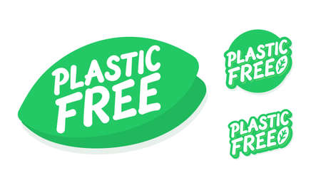 Plastic free. Vector lettering icons set.