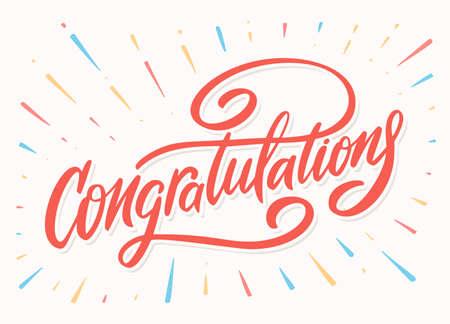 Congratulations. Greeting card. Vector lettering. Иллюстрация