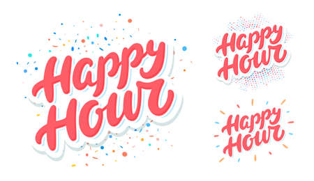 Happy hour sign . Vector lettering set.