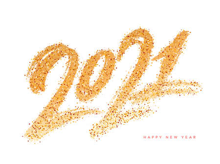 2021. Happy New Year.Vector gold glitter lettering greeting card. 矢量图像
