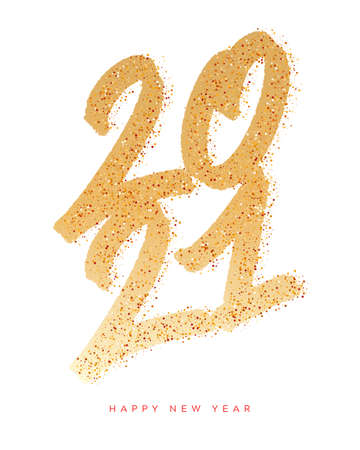 2021. Happy New Year. Vector gold glitter lettering greeting card.