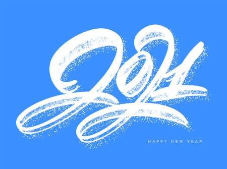 2021. Happy New Year. Vector lettering greeting card.