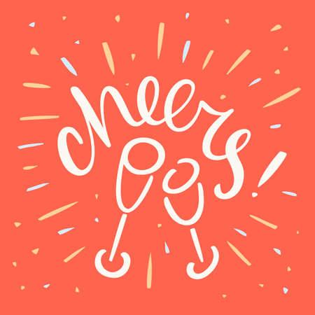 Cheers. Greeting card. Vector lettering. Vector Illustratie