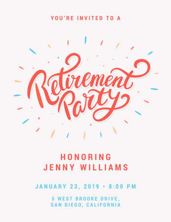 Retirement party invitation. Vector lettering.