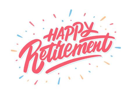 Happy Retirement banner. Vector handwritten lettering. 矢量图像