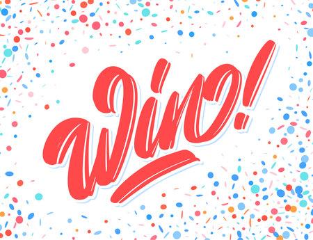 Win. Vector handwritten lettering banner.