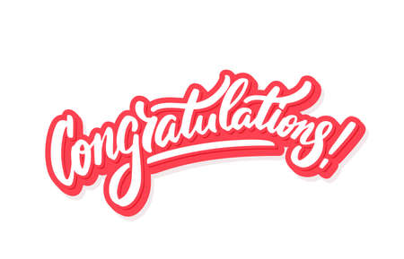 Congratulations. Vector hand drawn lettering card. 일러스트